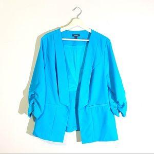 Torrid | Blazer 3/4 Sleeve Open Ruched Blue Size 2